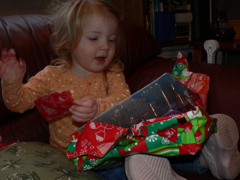 Courtney opens a present