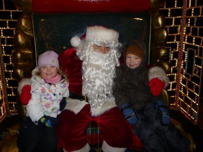 The kids with Santa at Bentleyville